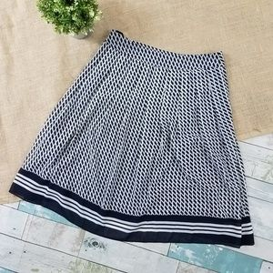 Talbots Navy Blue White A Line Pleated Skirt 6